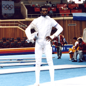 Photo of Peter Lewison at the 1988 Olympics in Seoul, South Korea.