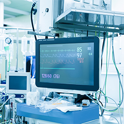 Photo of vital signs monitor in an operating room.