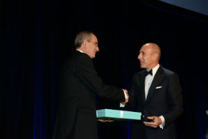 Comcast's Brian Roberts is presented with award by Today Show host Matt Lauer