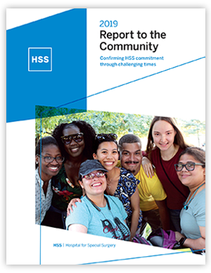 2019 report to the community cover, group of young adults taking a photo together outside in a park