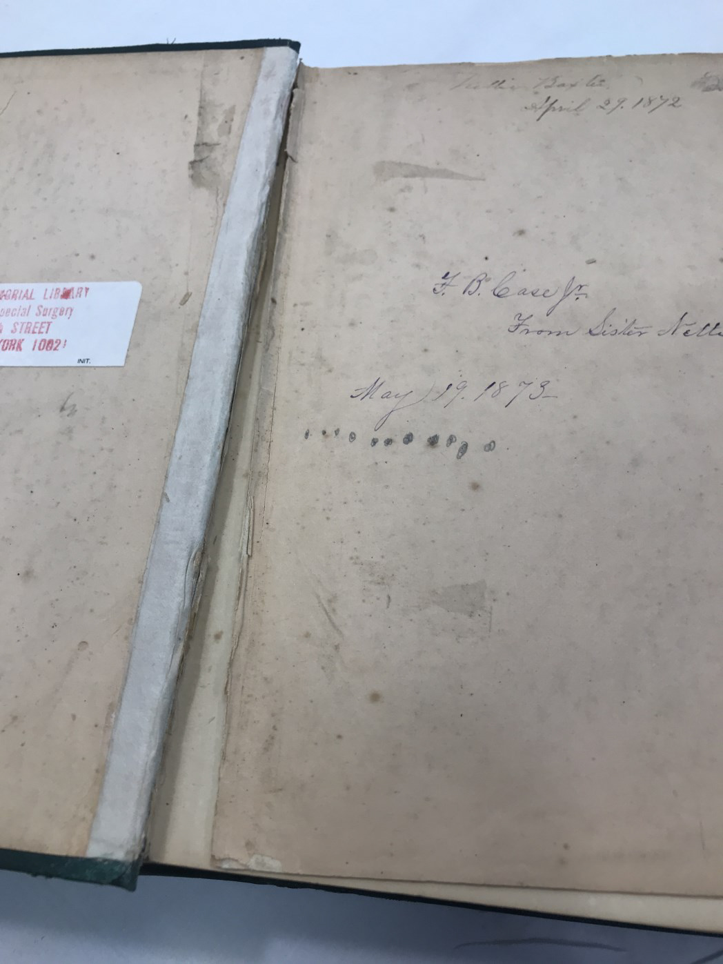 damage to inside cover of Richmond's book