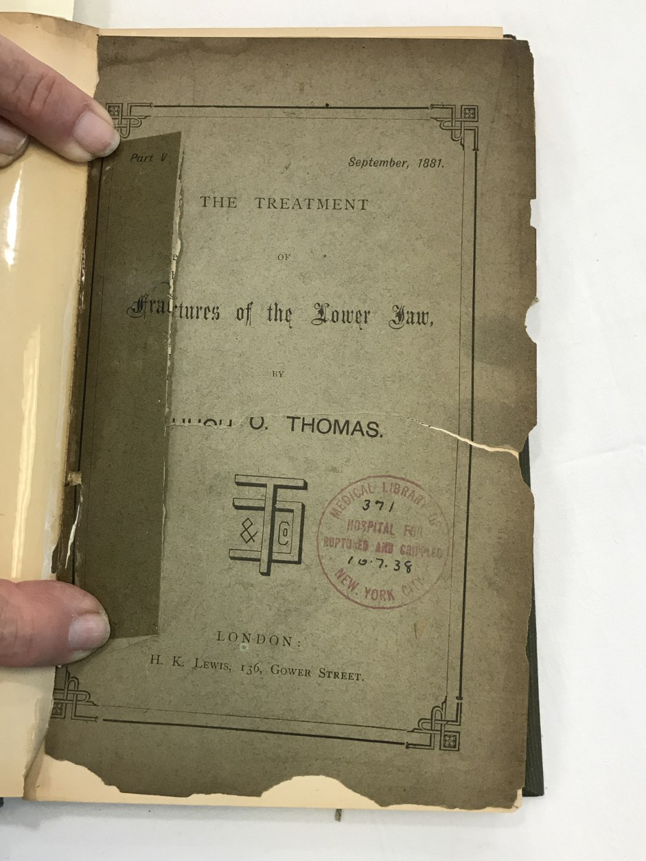 damaged title page of Thomas' book