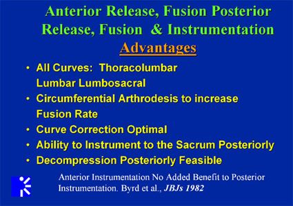 Advantages of Anterior release, fusion posterior release and instrumentation