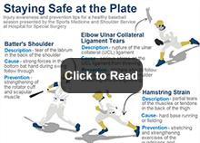 Baseball Infographic about staying safe during the season, listing the common injuries and a prevention tip.