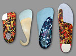 A group of foot orthotics. Foot orthotics can be custom made.