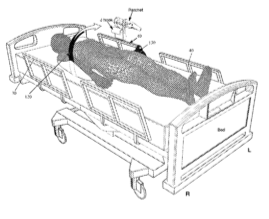 rendering of a patient lying in hospital bed