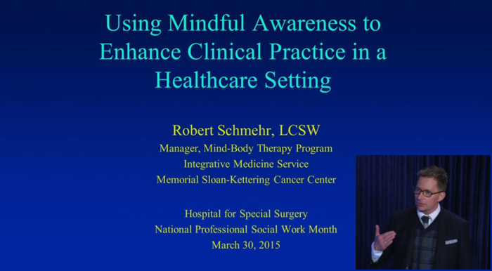 Photo of Robert Schmehr, LCSW, and the title slide of his presentation.