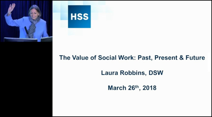 Image - Photo of Laura Robbins, DSW, and title slide of her presentation.