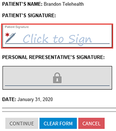 telehealth signature field