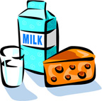Cartoon image of milk and cheese