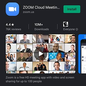 screenshot of ZOOM in play store