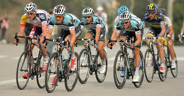 BARCELONA - MARCH, 24: Pack of the cyclists of Omega Pharma Quic