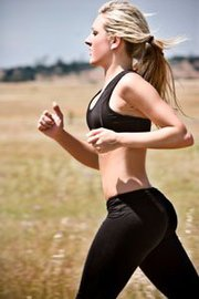 Woman running in warm weather