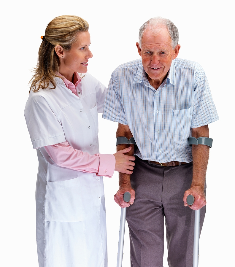 Nurse helping older man