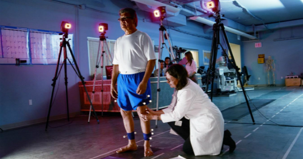 Sherry Backus and Patient in Motion Analysis Lab