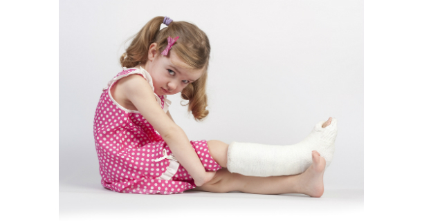 Girl with cast on leg