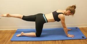"""""""Bird dog"""" leg extension exercise - hands on mat"""