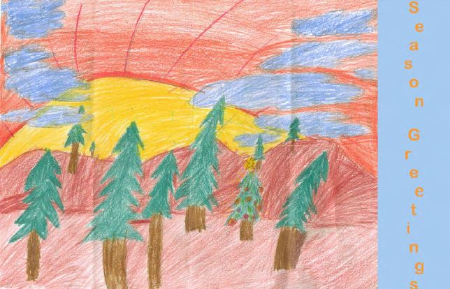 A Season's Greetings card drawn by an HSS Pediatrics patient and distributed by Hospital volunteers.