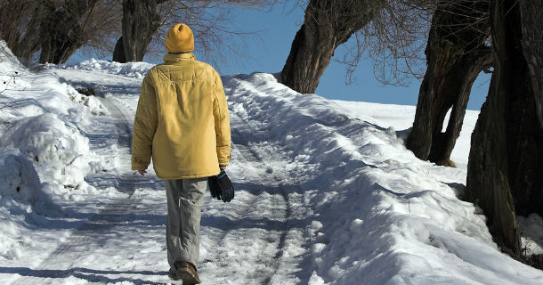Walking in snowy conditions