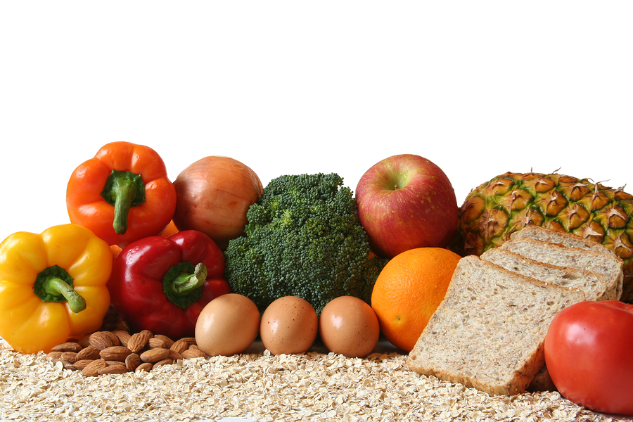variety of fresh healthy foods, fruits, vegetables, whole grains and dairy.