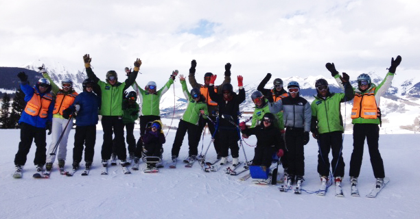 HSS pediatric patients and staff skiing