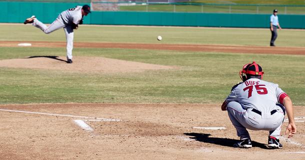 baseball pitcher and catcher