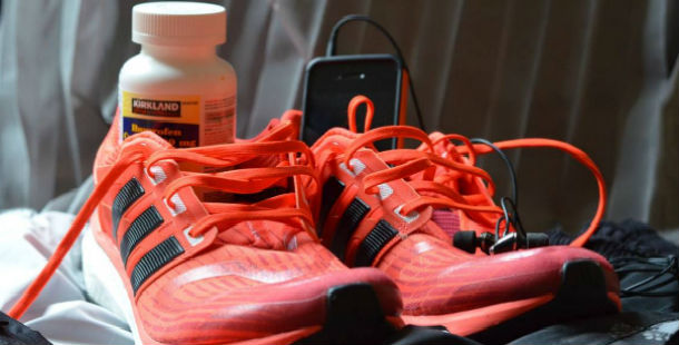 running sneakers, music player, and supplements