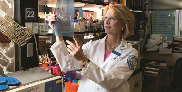 Dr. Mary Crow in lab