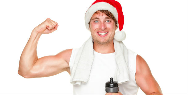 post-workout with santa hat