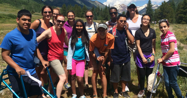 pediatric patients and staff on hiking trip