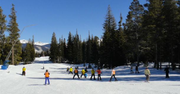 people skiing at resort