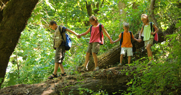 children hiking
