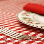 Christmas table served for a family dinner (detail)