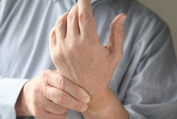 Male with arthritic hand
