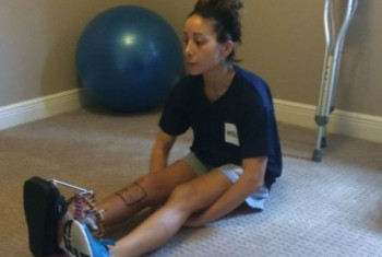 Gabrielle stretching
