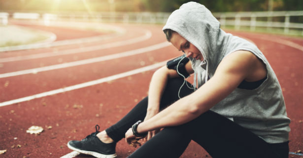 Athlete listening to music