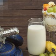 nutritious foods with dumbbell