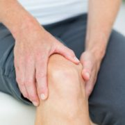 Woman having knee pain