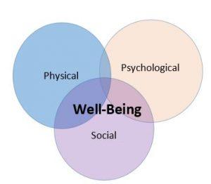Emotional Well-Being Vinn Diagram: Physical, Psychological, Social
