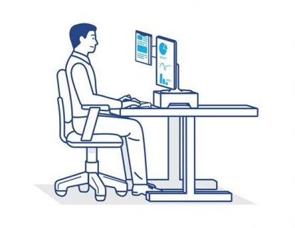 Sitting at a desk with perfect posture