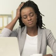 Businesswoman dealing with stress