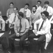 Nigel Sharrock, MB, ChB, and HSS Anesthesiology Staff (1989). (Photo by Brad Hess, professional photographer)